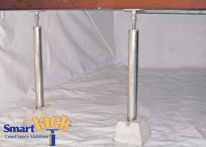 Crawl space structural support jacks installed in Conway