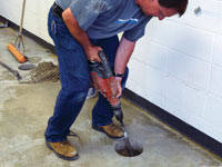 Coring the concrete of a concrete slab floor in Hendersonville