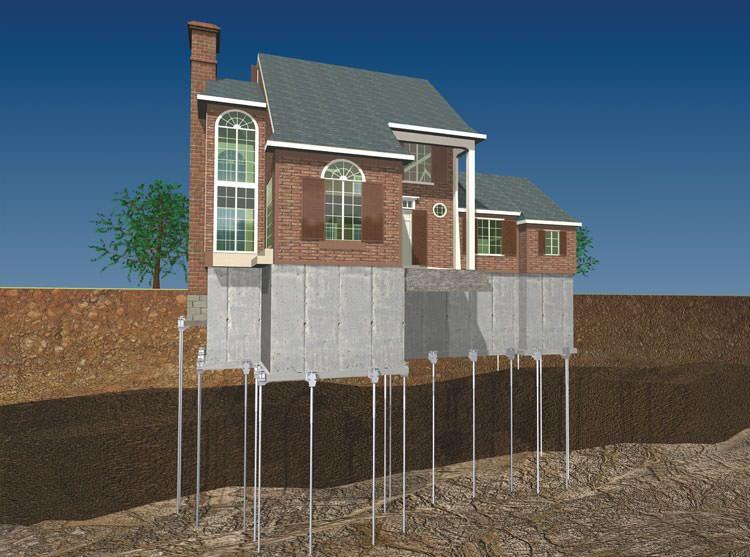 awesome pier foundations #1: ... Foundation push pier installation for a settling foundation ...