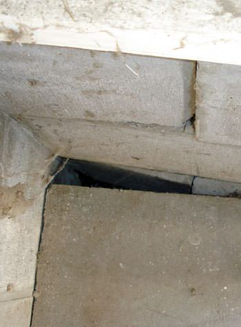inward rotation of a foundation wall damaged by street creep in a garage in Sumter
