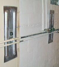 A foundation wall anchor system used to repair a basement wall in Myrtle Beach