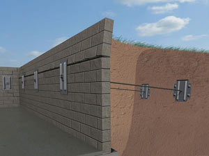 A graphic illustration of a foundation wall system installed in Myrtle Beach