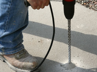 Step 1 of PolyLevel® concrete repair